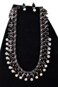Womens Fashion Gemstone Necklace Earring Set Jewellery Black Gold .