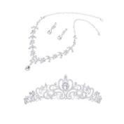 THZY Wedding Party Bridal Bridesmaid Flower Crown Tiara+Necklace Earring Set