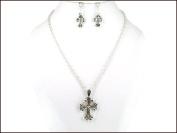 Necklace Earring Set-Cross-Silver