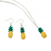 Pineapple Earrings Pineapple Necklace Fruit Pendant Tarnish Resistant Jewellery Set J-111