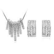 Silverplated Tassel Necklace and Earring Crystal Set Tarnish Resistant Jewellery Set J-151