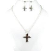 Necklace Earring Set-Cross Heart Paisley-Silver