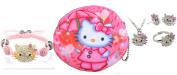 Kitty Girls Pink Coin Purse Four Piece Crystal Kitty Set Kitty Watch J-HK05