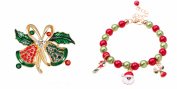 Two Piece Jewellery Set Colourful Christmas Bracelet Crystal Christmas Brooch J-XM06