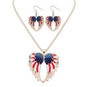 American Flag Necklace Set U.S.A. American Flag Eagle Wing Jewellery Set Anti-Tarnish, J-9