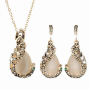 Peacock Rhinestone Crystal Earring Pendant Necklace Anti-Tarnish Woman Jewellery Set J-144