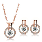 Round Circle with Crystal Necklace Jewellery Set Boutique Quality Tarnish Resistant J-84