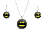 Batman and Earring and Necklace Set Glass Pendant and Earrings Anti-Tarnish J-177