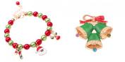 Colourful Christmas Bracelet 2 Bells Christmas Brooch 2 Piece Jewellery Set J-XM04