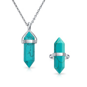 Bling Jewellery Double Pointed Crystal Synthetic Turquoise Stainless Steel Stainless Steel Jewellery Set