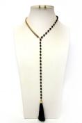 Y-Neck Tassel Beaded Earring Necklace Set-Blue