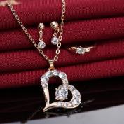 Women's Fashion Crystal Heart Necklace Earring Ring Jewellery Set