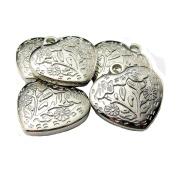 Jewellery Parts DIY Solid Florentine Heart Silver Colour 5 Piece Set JP-1