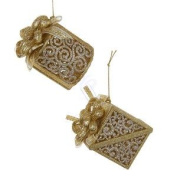 ACRYLIC GOLD & SILVER GIFT BOX WITH RIBBON ORNAMENT, SET OF 2