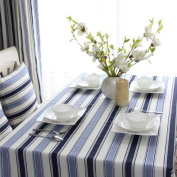 Tabgw Rectangular Tablecloth Dining Room Garden Hotel Cafe Table Cover Cloth Cotton Linen Coffee shop blue grid 140x210cm Home Decoration