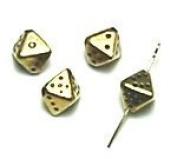 Pyramid dice 8 mm / antique gold