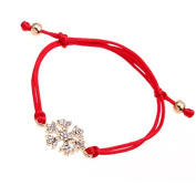 Wicemoon Snowflake Diamond Braided Bracelet Ornaments Anklet Chain Female Interlaced Handmade Braided Red String Bracelet