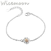 Wicemoon Small Daisy Silver Sun Anklet Bracelet Female Trinket Foot Decorated Foot Ornaments Anklet Chain Female Twist Interlaced Foot Jewellery Simple Anklet Accessories