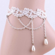 Wicemoon White Multi-Layered Tassel Pearl Retro Gothic Lace Anklet For Women Anklet Chain Gift
