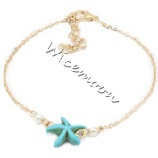 Wicemoon Turquoise Starfish Pearl Simple Anklet Female Trinket Foot Decorated Foot Ornaments Anklet Chain Female Twist Interlaced Foot Jewellery Simple Anklet Accessories