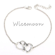 Wicemoon Heart-Shaped Fashion Double Heart Anklet Female Trinket Foot Decorated Foot Ornaments Anklet Chain Female Twist Interlaced Foot Jewellery Simple Anklet Accessories