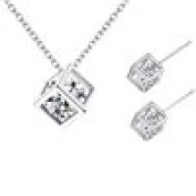 Wicemoon Lady Temperament Flash Diamond Pendant Water Cubic Cube Love Magic Ear Studs Necklace Set for Women