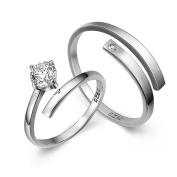 StageOnline Romantic S925 Sterling Silver Inlaid Non-Closed Rings Opening Couple Ring With AAA Zirconia
