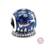 MOCCI European Christmas Night Beads DIY Fits for Original Pandora Bracelets 925 Silver Charm Fashion Jewellery