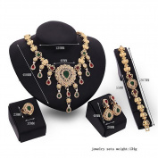 Dosige Vintage Women Jewellery Set Charm Diamond Necklace Ring Bracelet Stud Earings Christmas Gift