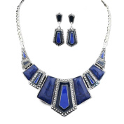 Bobury Retro Alloy Geometric Drops Beads Collar Chain Necklace Earrings Jewellery Set