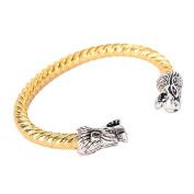Vintage Viking Bracelet with Locking Stainless Steel Wolf Head Clasp, Antique DIY Bracelet Jewellery in Golden