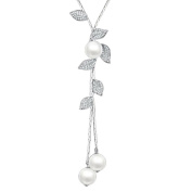 prelikes Ladies Fashion Tassel Leaves with Faux Pearl Pendant Long Chain Sweater Necklace