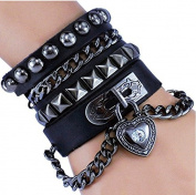 Kelaina Special Rocky Multi Circle Punk Rivet Bracelet Heart Chain for Men