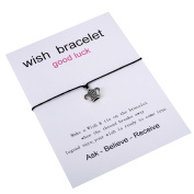 Anti-silver Crown Black Wax Rope Card Make a Wish Bracelet Jewellery Adjustable