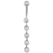 Decadent Five CZ Hinged Drop Dangle 14K White Gold Belly Button Ring