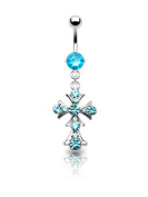 Stainless Steel Blue Cross Sapphire Rhinestone Bananabell Bellybutton Ring