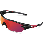 Torege Polarised Sports Sunglasses With 5 Interchangeable Lenes for Men Women Cycling Running Driving Fishing Golf Baseball Glasses TR002