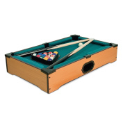 TABLE TOP MINI SNOOKER POOL PLAY SET TOY DESKTOP WITH CUES BALLS TRIANGLE