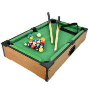 Kids Mini Wooden Table Top Pool Play Snooker Game Set Felt Surface With 2 Mini Cues, 15 Coloured Billiard Balls, 1 White Cue Ball, Triangle & Chalk