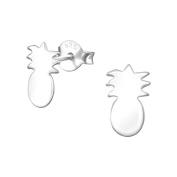 Tata Gisele© Earrings in 925/000 Rhodium-Plated Silver Pineapple – 6 x 10 mm