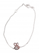Tata Gisele© Children's Bracelet in Rhodium-plated 925/000 Silver – Bee – 16 cm
