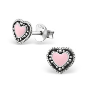 Tata Gisele© Earrings in 925/000 Sterling Silver and Pink Resin – Antique Heart 7 x 6 mm