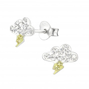 Tata Gisele Earrings 925/000 Rhodium-Plated Silver and Crystal – Cloud Eclair Thunderstorm – 8 x 7 mm