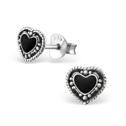 Tata Gisele© Earrings in 925/000 Sterling Silver and Black Resin – Antique Heart 7 x 6 mm