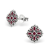 Tata Gisele© Earrings in 925/000 Sterling Silver and Red Resin – Antique Baroque Arabesque 7 x 7 mm