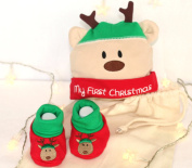 Baby's First Christmas, Reindeer Hat and Booties, cute gift set for new baby, baby's first Christmas gift set