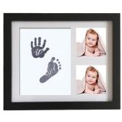 Profusion Circle Newborn Baby Handprint Footprint Photo Frame Memento Non-Toxic Ink Pad Wood Photo Frame