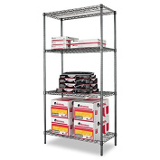 Alera Wire Shelving Starter Kit with 4 Shelves 36 by 46cm by 180cm Black Anthracite