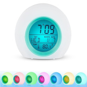 LED Wake Up Light Digital Clock 7 Colours Changing Nature Sounds One Tap Control Sleep-Friendly with Indoor Temperature Display