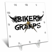 3dRose dc_162544_1 Biker Gramps Grunge Word Art with Black & White Flames Funny Old Motorbike Grandfather Motorcycle Desk Clock, 15cm by 15cm